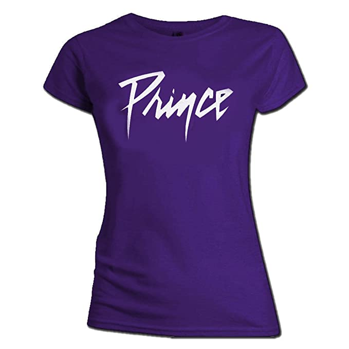 Official Ladies Skinny T Shirt PRINCE Revolution Signature LOGO Purple All Sizes