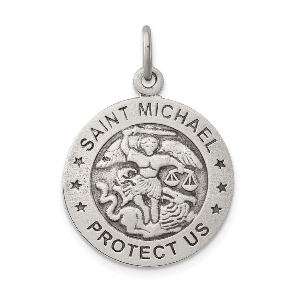 925 Sterling Silver Antiqued Saint Michael Air Force Medal