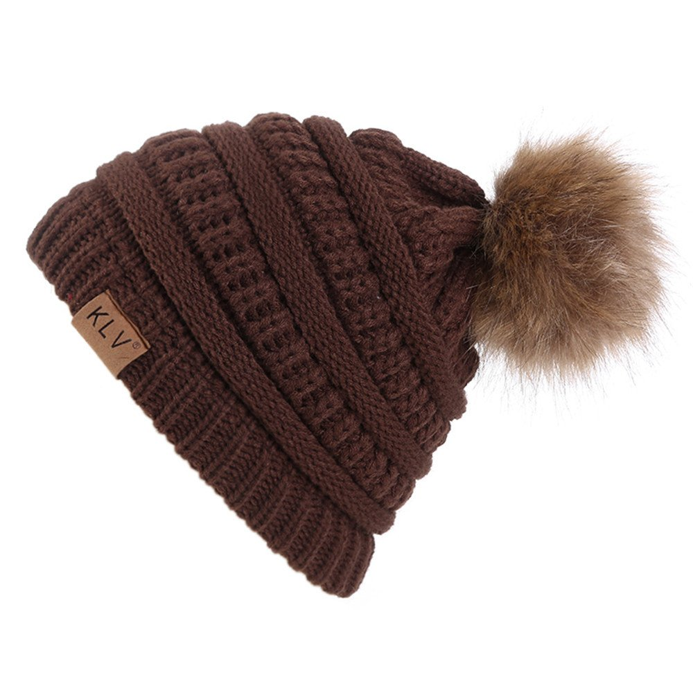 FALAIDUO Ladies Pom Pom Bobble Hat Hairball Vertical Knit Hat Headgear Fashion Men Women Solid Color Warm Bean Skull Hat One Size) FALAIDUO-Hat-0928