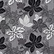 Onyx Black and Grey Leaf Foliage Damask Upholstery Fabric by the yard