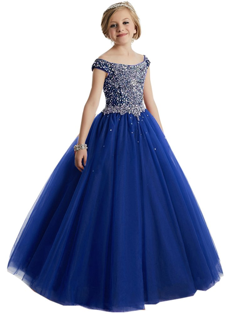 Girls Off the shoulder Glitz Sequins Hollow Corset Beauty Pageant Dress for Teens08 US Royal Blue