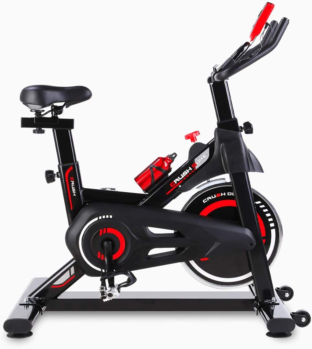 Femor Bicicleta Estática para Interior, con Ajuste de Resistencia, 5 Ajustes de Altura de Reposabrazos y Cojines, con Indicador LCD de Datos, hasta 150kg