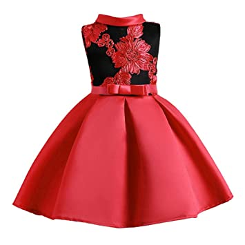 6ed397b519f Brezeh Girls Princess Dress Kids Floral Embroidery Sleeveless Party Wedding Formal  Dresses Ball Gown Dress (100, Sexy Red): Amazon.co.uk: Sports & Outdoors