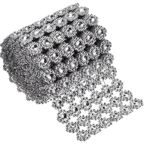Bememo 6 Rows Silver Flower Diamond Mesh Wrap Roll Faux Crystal Rhinestone Ribbon for Party Decorations, 4 Inch x 3 (Roll Mesh Ribbon)