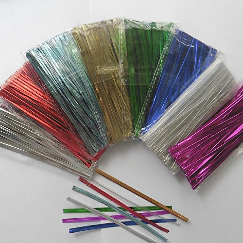 "Weststone Brand - 800pcs 4"" Metallic Twist Ties, red, blue, green, gold, silver, clear and pink"
