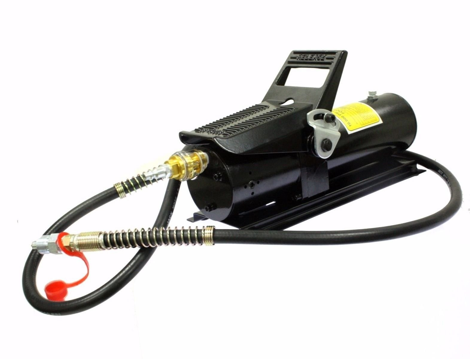 KCHEX>>>10 TON 10,000 PSI Porta Power AIR HYDRAULIC FOOT PUMP CONTROL LIFT W/ 6ft HOSE>Automatic air valve is furnished for less air consumption. Improved muffler design further reduces the noise