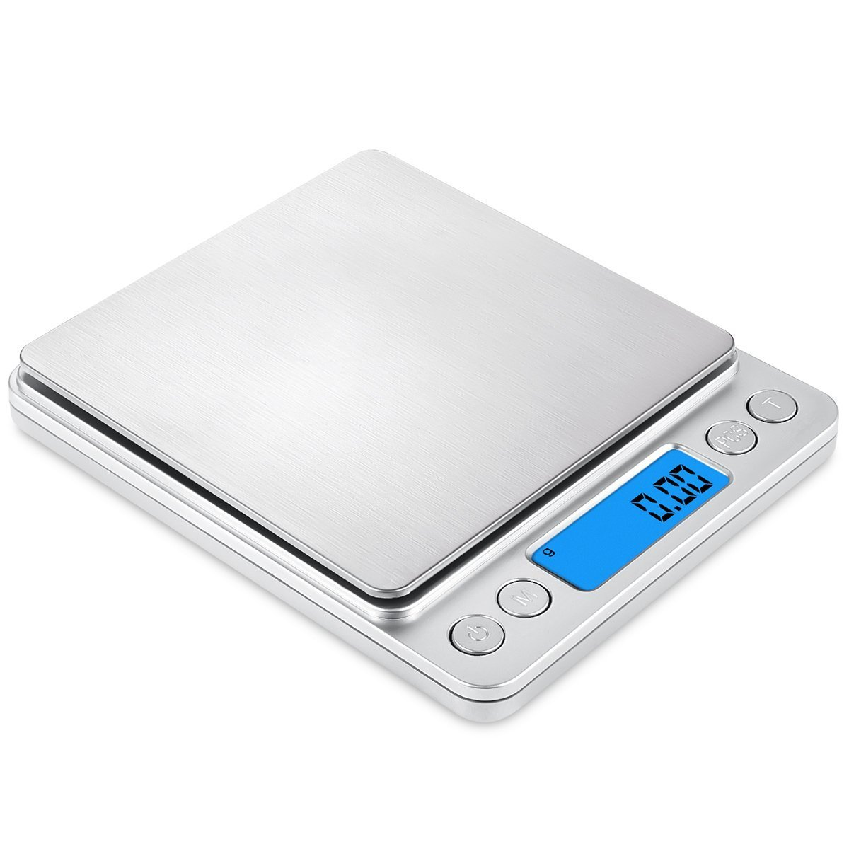 Mini Digital Kitchen Scale, Multifunction Food Scale,500g/0.01g Mini Pocket Jewelry Scale, Cooking Food Scale with Back-Lit LCD Display, 2 Trays, 6 Units, Auto Off, Tare, PCS Function, Stainless Steel, Batteries Included