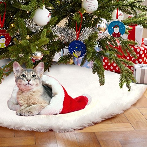 GAMT Christmas Tree Skirt Faux Fur Snow White Tree Skirt for Christmas Decorations 48 inch (Wicker Christmas Tree Skirt)
