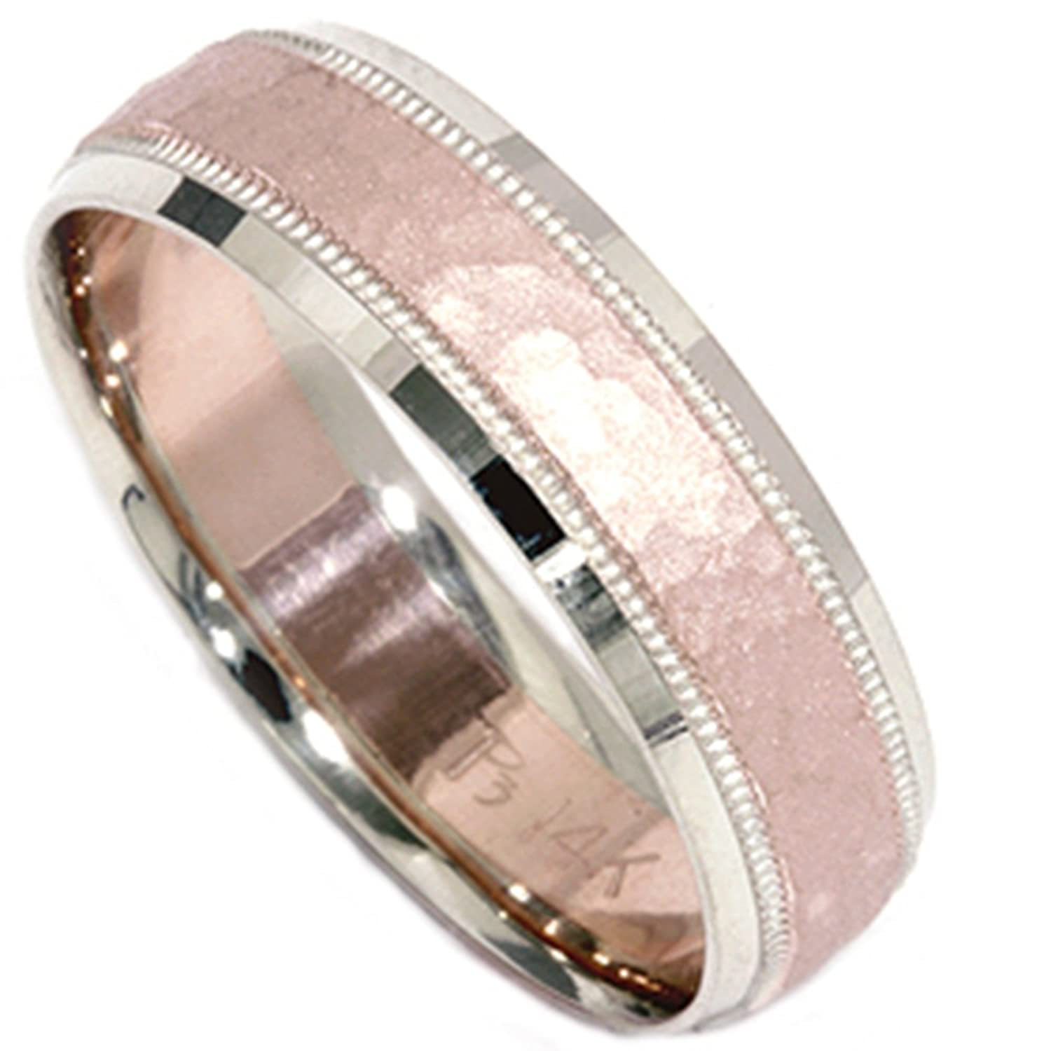 6mm hammered wedding band 14k rose gold
