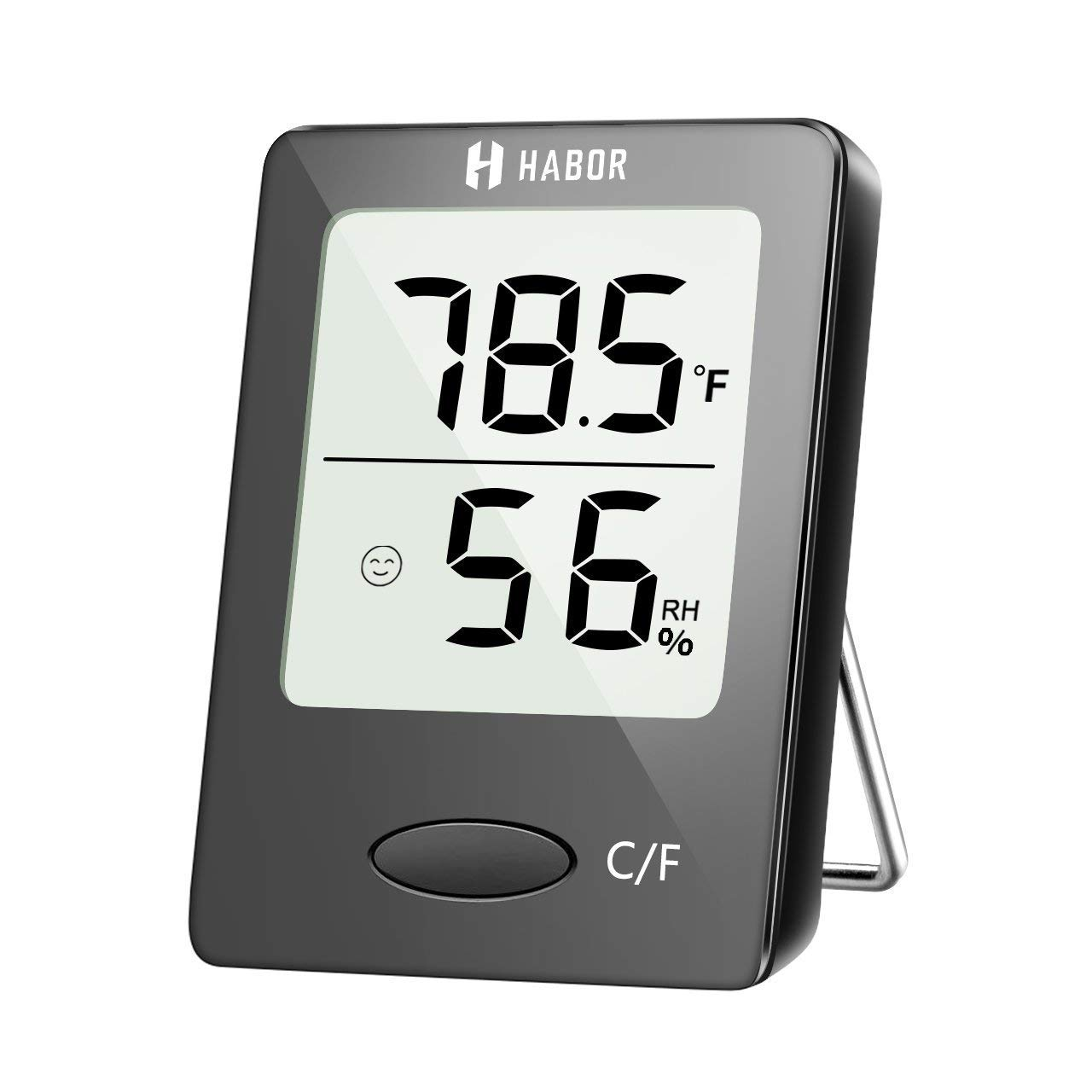 Habor Digital Thermometer Hygrometer , [Mini Style] Accurate Indoor Temperature and Humidity Meter Monitor with LCD Display for Home Office Comfort, Lifetime Replacement Guarantee (Black) TKHBHM118AB-UKVV2