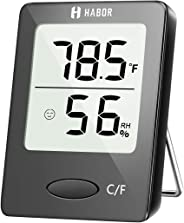 Humidity Meter, Habor Indoor Thermometer Hygrometer [Mini Style], Accurate Humidity Monitor for Home, Office, Babyroom, Greenhouse, Black (2.3 X 1.8 Inch)