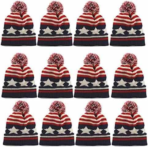 THE HAT DEPOT Kids American Flag Knit Beanie Pom Pom Winter Hat Cap 36dd6e9e9de8