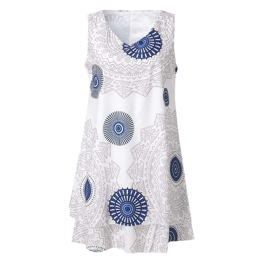 Pervobs Womens Plus Size Sleeveless Print Midi Dress Loose Swing Flowy Shift Tank Vest Sun Dress Tunic T-Shirt(US: 18, White)