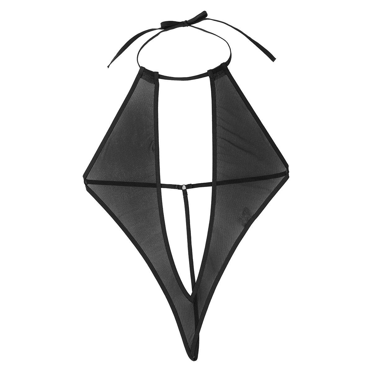 dPois Womens Teeny Weeny Sling Shot Micro Bikini One-Piece Halter Teddy Thong Monokini Swimwear Bodysuit