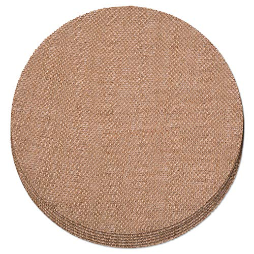 Round Burlap Placemats (Burlap Placemats Set of 6  (10 Inch Diameter) with  20-ct Black and White Chevron Cocktail)