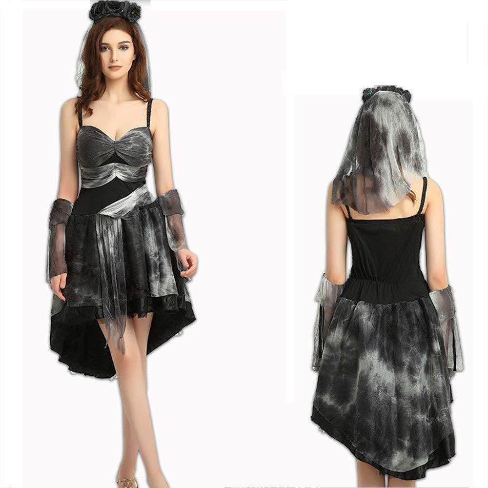 Yunfeng Halloween Bruja Disfraz para Mujer Magia Bruja Vestido Maxi Rendimiento Trajes Cosplay Halloween Adultos