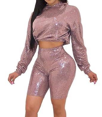 8886148e3 Nanquan Women Hooded Sweat Shirt Tights Long Sleeve Crop Top and ...