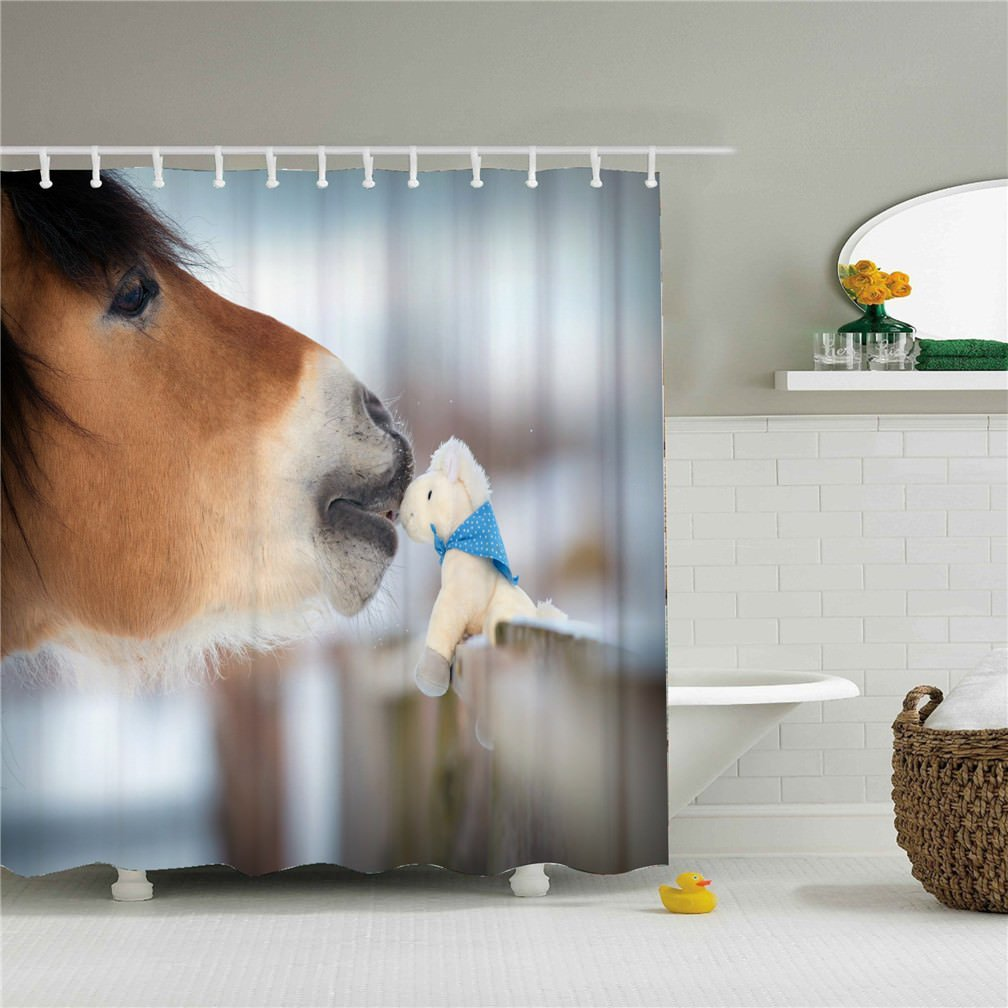 Wings A weird horse shower curtain 3D printing - Waterproof, Mildew resistant, Machine Washable - Shower Hooks are Included