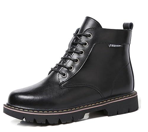 Easemax Femme Classique Petit Talon Low Boots Rangers Bottines Noir 35 41898457cc0e
