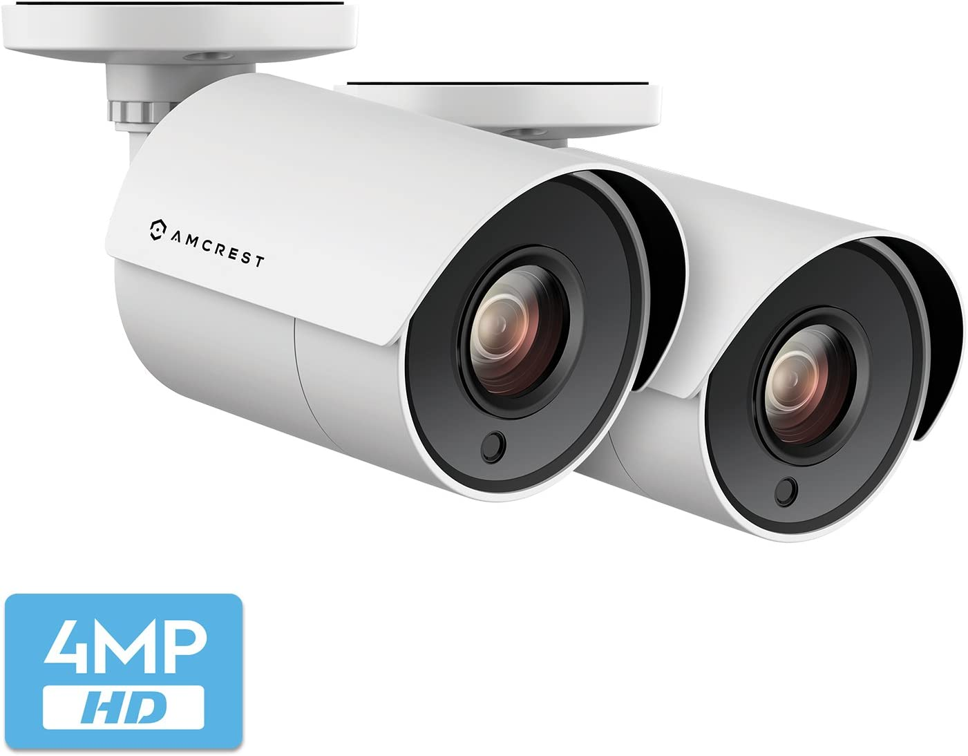 2-Pack Amcrest UltraHD 4-Megapixel Bullet Outdoor Security Camera, 4MP 2688x1440P, Heavy Duty Housing, 2.8mm Lens 100° Wide Angle, White (2PACK-AMC4MBC28P-W) 617nYnjE7BL