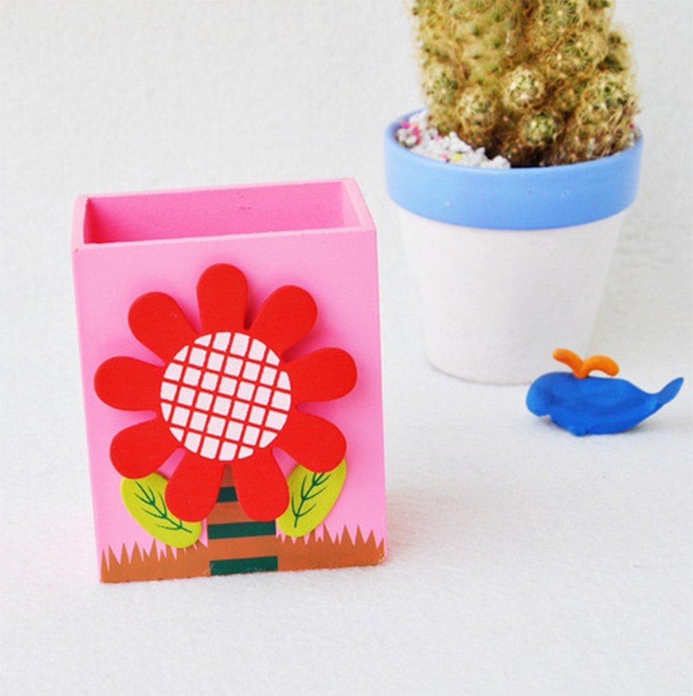 colore pu/ò commento 7*5*8.5CM 1 haodou fiori legno STIFTHALTER creativo modo kindertag regalo bambini fumetto scrivania portapenne Organizer contenitore make up pennello titolare