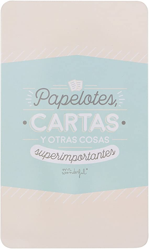 Mr. Wonderful Caja Met&aacutelica-Papelotes, Cartas y Otras Cosas superimportantes, Metal, Azul Claro, 22 x 13 x 7,3 cm: Amazon.es: Hogar