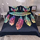 Sleepwish Hipster Neon Dreamcatcher Duvet Cover Cute Rainbow Dream Catcher Bedding Black Turquoise Pink Native American Bed Set (King)