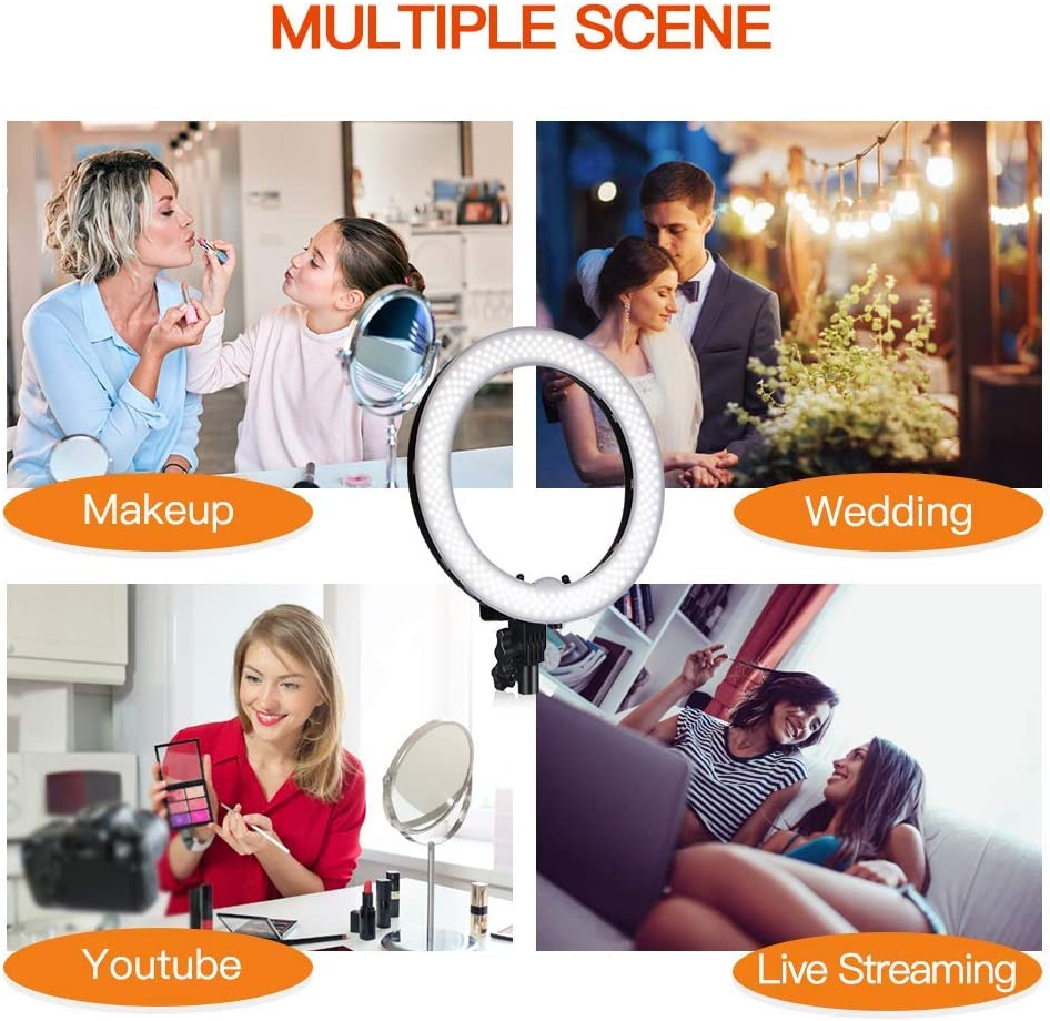 Ring light 9inch//22cm LED with Makeup Mirror 3 Mode Light Bright Adjustment for Video Shooting YouTube Makeup Live