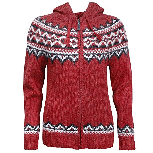 Icelandic wool hand knitted Jumper with Zipper and Hood (Hand Knitted Cardigans)