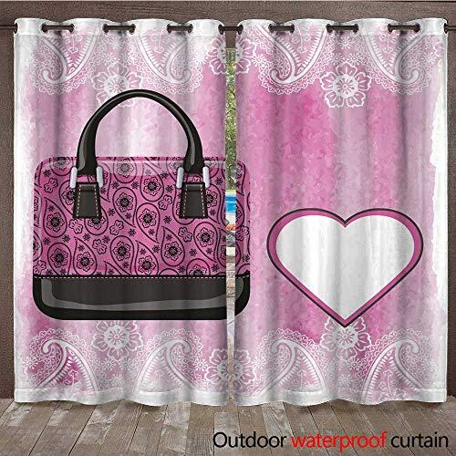 0utdoor Curtains for Patio Waterproof Handbag with Paisley Pattern Watercolor Pink Splash W96 x L108
