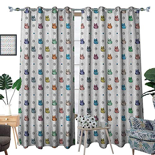 Warm Family Kids Window Curtain Fabric Owl Motif with Spiral Circles and Big Eyes Night Animal Nursery Baby Playroom Concept Drapes for Living Room W120 x L96 -