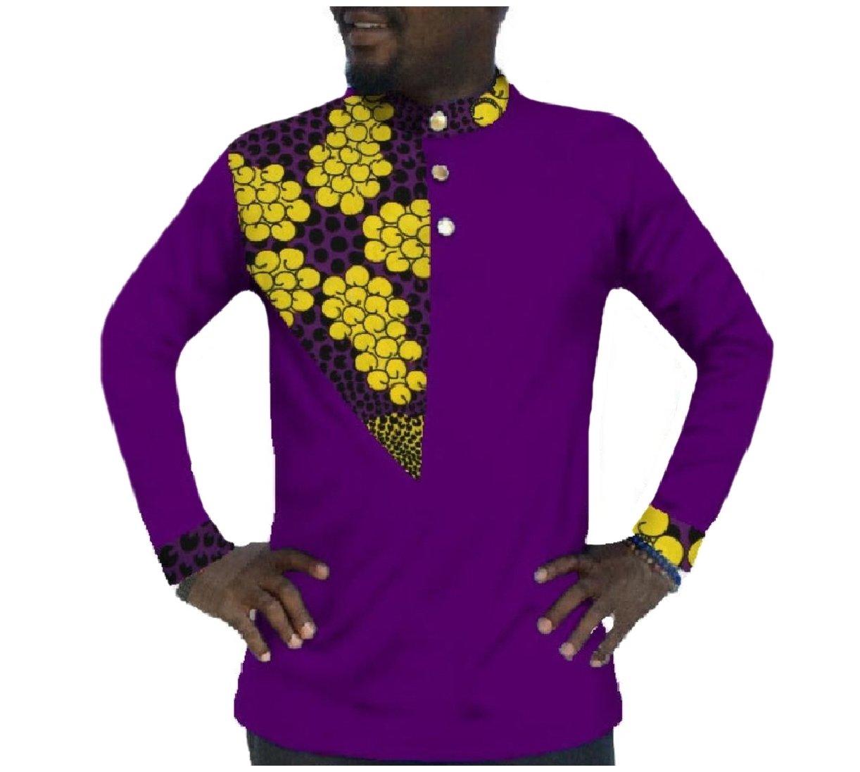 NestYu Men Dashiki Long-Sleeve African Printed Fine Cotton Shirt Tops Purple 3XL
