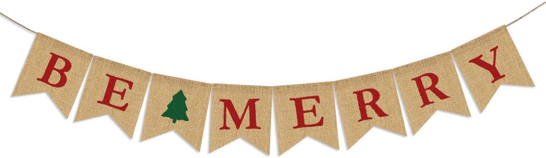 Partyprops Be Merry Burlap Banner | Christmas Burlap Banner | Christmas Tree Garland | Holiday Bunting | Home Garden Indoor Outdoor Banner | Natural Burlap Banner | Christmas Decor Decorations