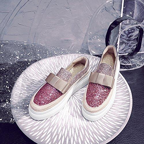 KJJDE Plateau Creepers WSXY Plateauschuhe 38 Elastischer Bandbogen Band Keilabsatz Schuhe Pink Q1610 Damen HgrHATwq4