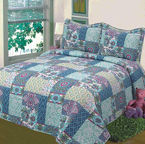 Fancy Collection 3pc Bedspread Bed Cover Floral Blue Teal Green New #78 Full/queen Oversize 100