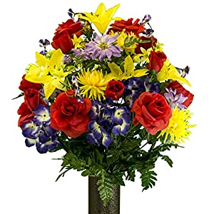 Ruby's Silk Flowers Red Rose and Purple Hydrangea Mix Artificial Bouquet, featuring the Stay-In-The-Vase Design(c) Flower Holder (LG2091) 69