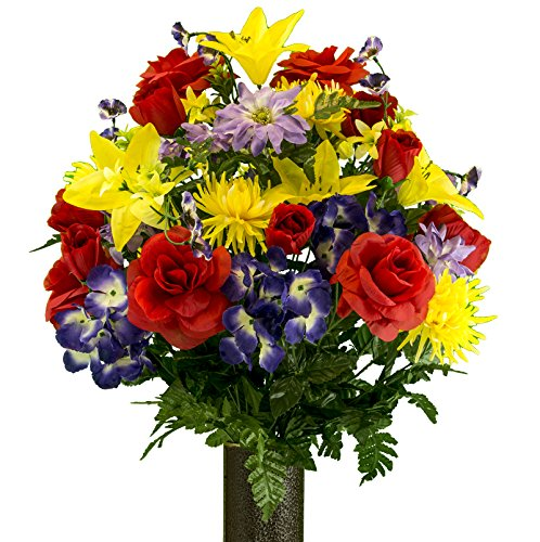 Rubys Silk Flowers Red Rose and Purple Hydrangea Mix Artificial Bouquet, featuring the Stay-In-The-Vase Design(c) Flower Holder (LG2091)
