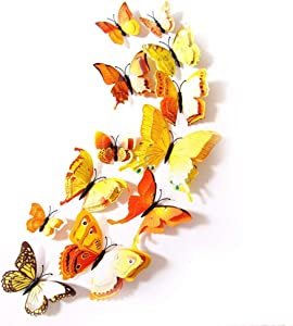 12 Pcs Colorful Butterfly 3D Wall Stickers DIY Art Decor Crafts Room Decoration (Yellow)