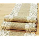 "Natural Burlap Table Runner with Lace Wedding Decor Rustic Shabby Chic Hessian Jute Outdoor Party Between (Length: 94"")"