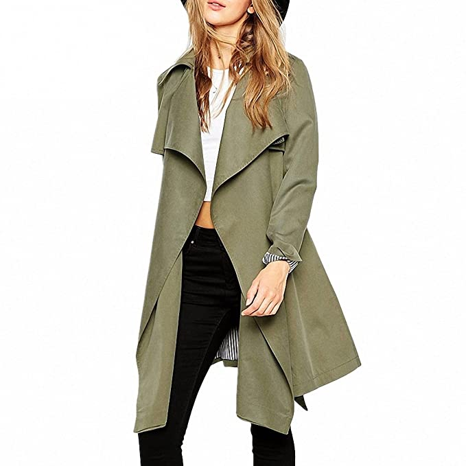 Amazon.com: Army Green Casual Windbreaker Coats NEW Autumn Women Turn Down Collar Slim Belt Long Trench Coat Abrigos Mujer: Clothing