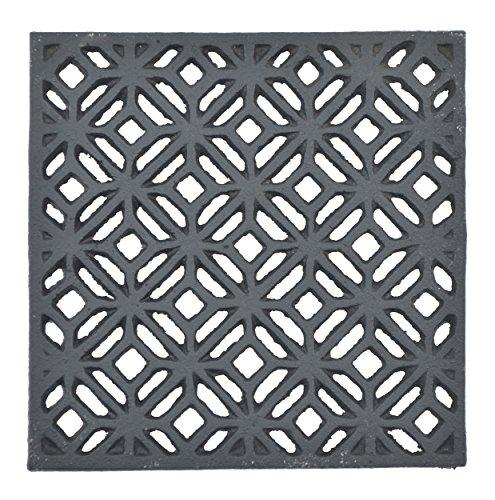 Decorative Square Black Cast Iron Trivet Ornate Diamond Design 5.25