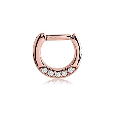 574264017ed99 Amazon.com: Bubble Body Jewelry Crystal Color Rose Gold Pvd Surgical ...