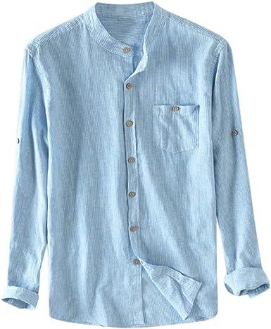 Sylar Camisas De Hombre Manga Larga Camisas De Algodón Color Sólido para Hombre Camisa De Los Hombres De Moda Botón De Verano Otoño Casual Lino Y Algodón Blusa De Manga Larga: Amazon.es: