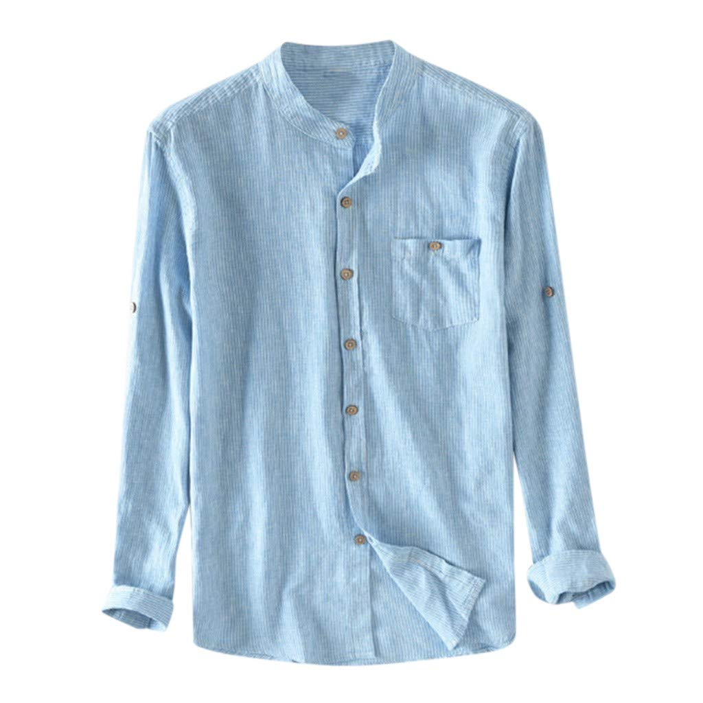 OrchidAmor Men's Boys Baggy Cotton Breathable Striped Button Pocket Plus Size Long Sleeve Shirts 2019 Summer Sky Blue