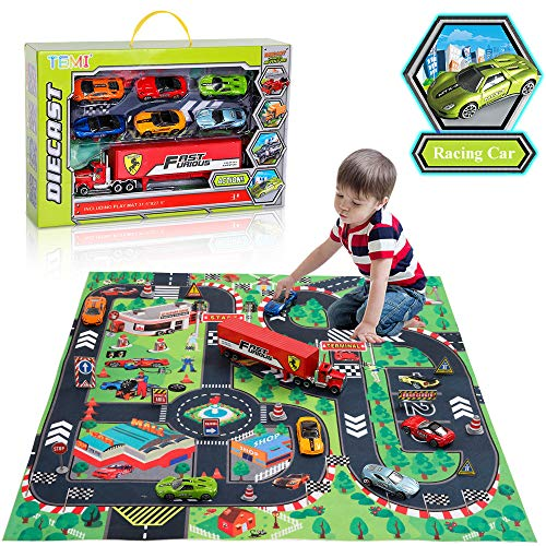 TEMI Diecast Racing Cars Toy Set w/ Activity Play Mat, Truck Carrier, Alloy Metal Race Model Car & Assorted Vehicle Play Set for Kids, Boys & Girls from TEMI