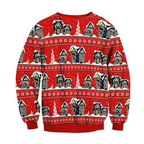 Collar Christmas L Unisex a Round as Printing Sweatshirt Sleeve Gift Sweater Blouse Long with Christmas Christmas 3D Sweater Jumper Cartoon Style1 Dress 81d1q