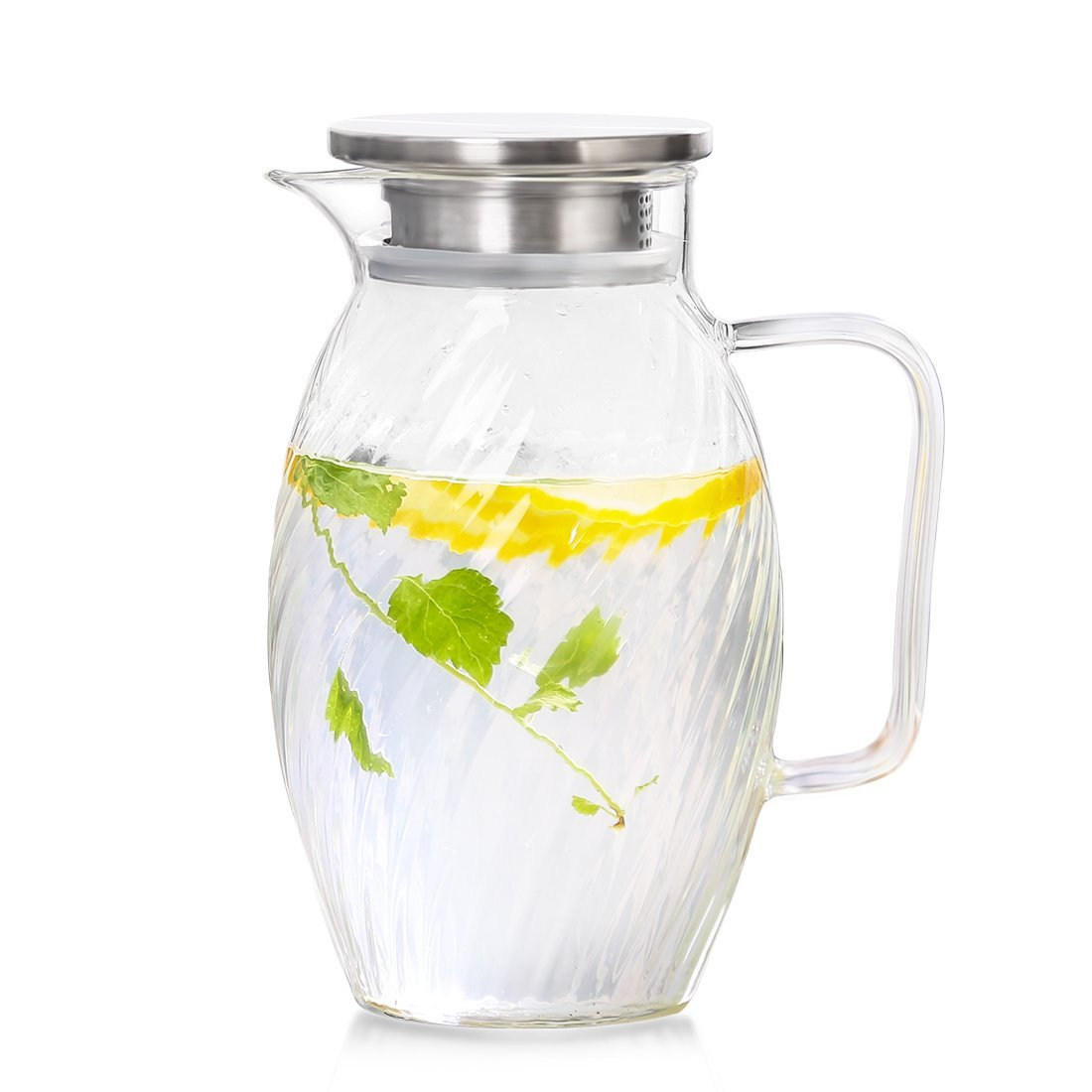 ONEISALL 1.5 Liter 51.24 Ounces Large Borosilicate Glass Pitcher with Strainer Lid Water Carafe Jug for Hot/Cold Water, Ice Tea and Juice Beverage