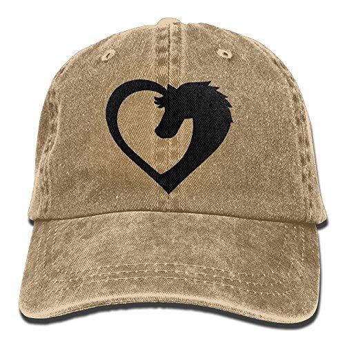 NavyLife Unisex Heart Horse Washed Cotton Denim Baseball Cap Vintage Adjustable Dad Hat for Men Women