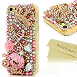 5c cases with gems - Mavis's Diary Luxury Series for Iphone 5C Handmade 3D Crytal Diamonds Cinderella Fairy Tale Design Clear Hard Back Cover with Clean Cloth - Pumpkin Carriage