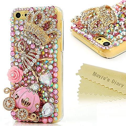 Mavis's Diary 7Y9TZ862S Luxury Series Handmade 3D Bling Crystal Full Diamond Cinderella Fairy Tale Design Clear Hard Back Cover for iPhone 5C with Clean Cloth - Pumpkin (3d Bling Cases For Iphone 5c)